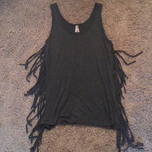 Gray tank top with fringe on the sides